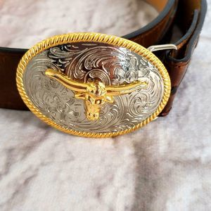 3D  Leather Stamped Belt  Bull Silver Toned Buckle